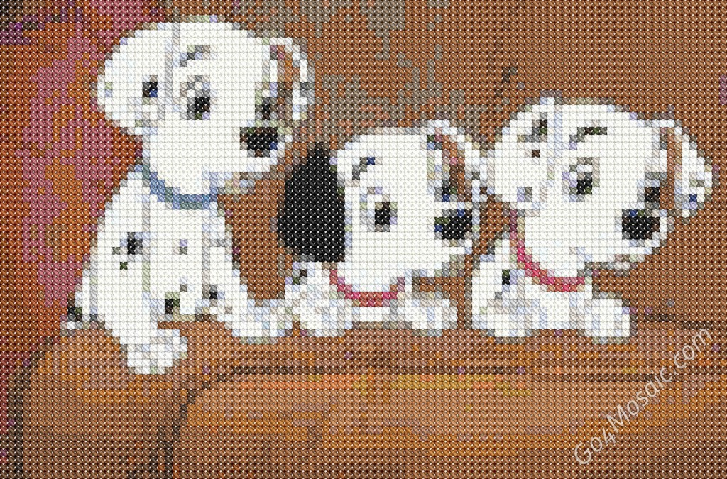 Cross-stitched mosaic from 101 Dalmatians