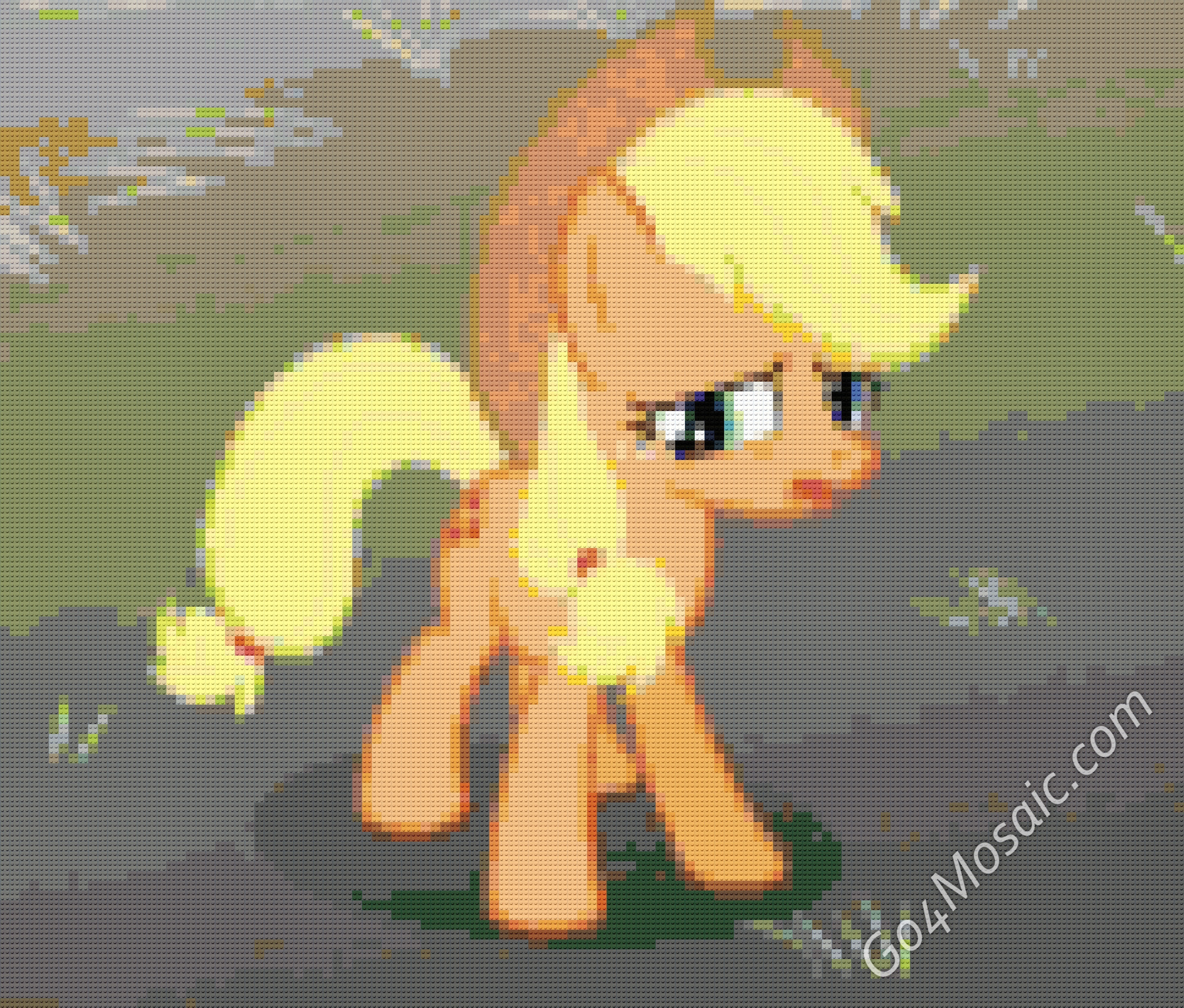 Applejack mosaic from Lego Bricks