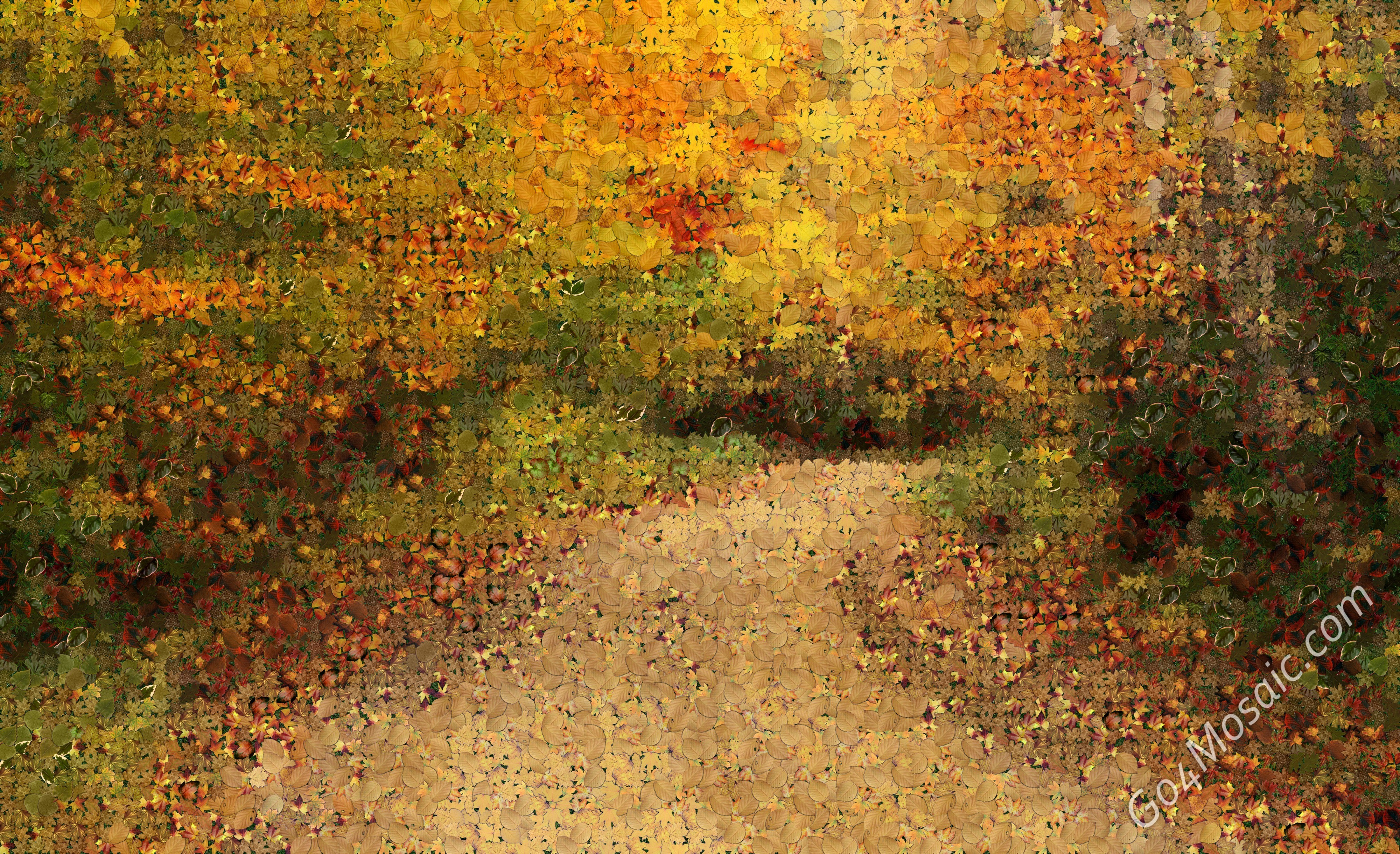 Autumn Road mosaic from Leaves