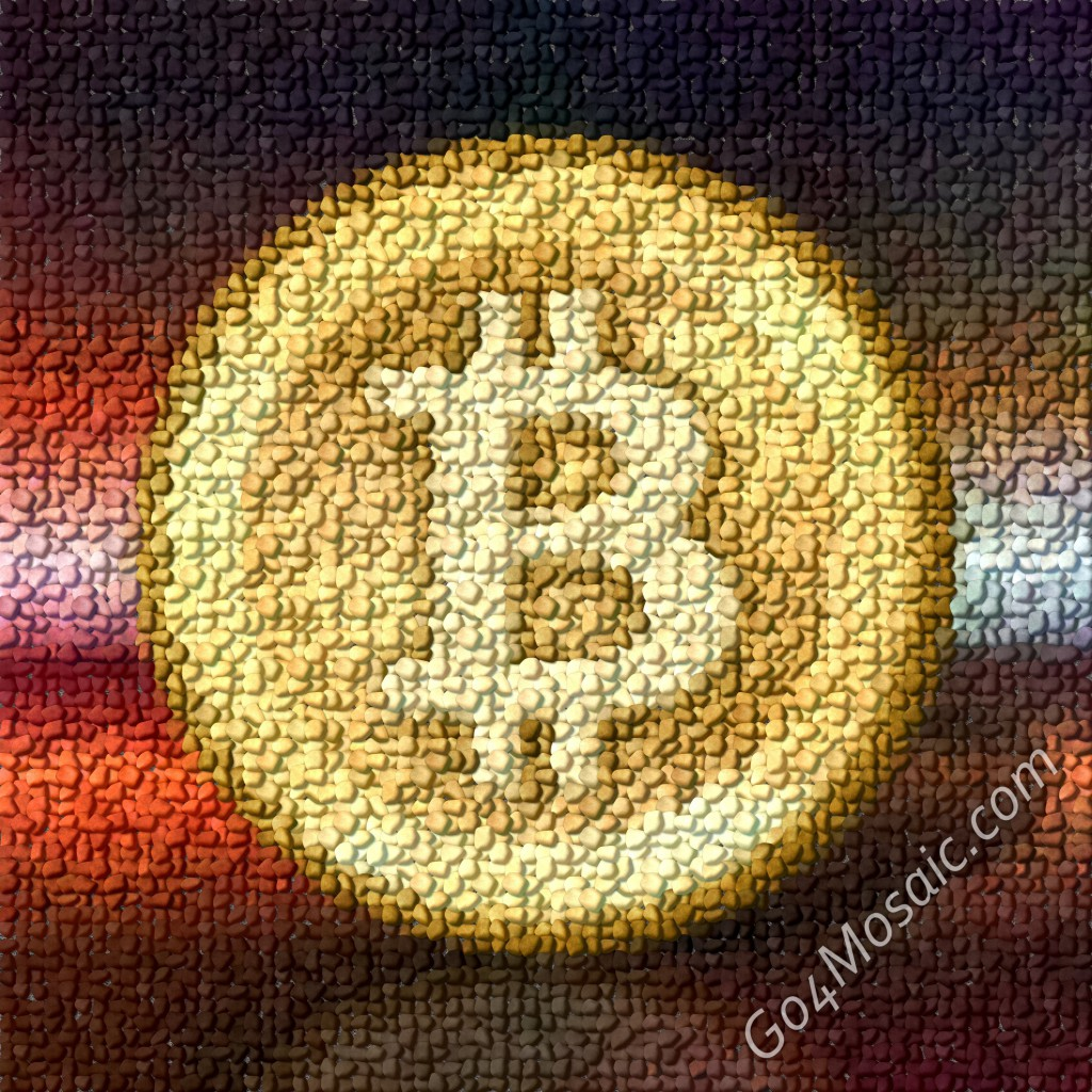 Bitcoin mosaic from Pebbles