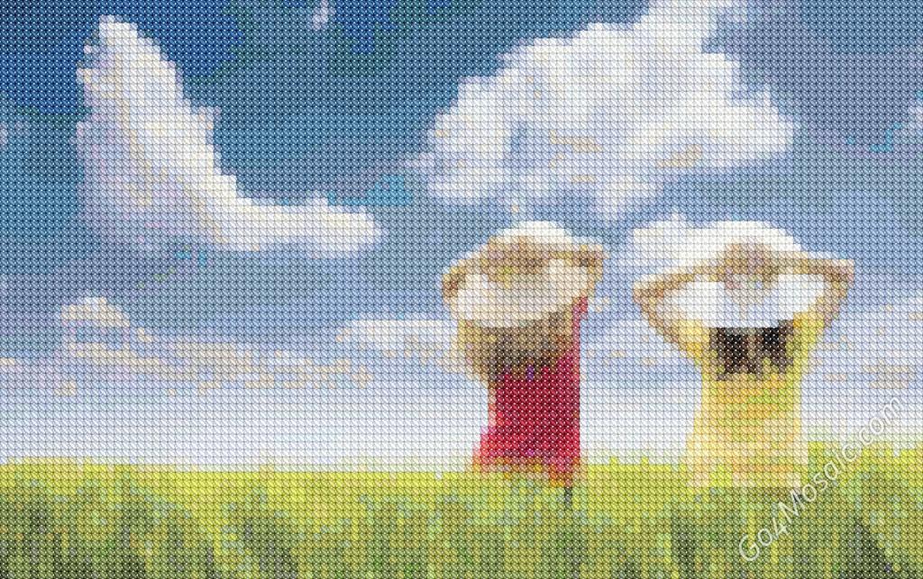 Cross-stitched Children of Nature mosaic