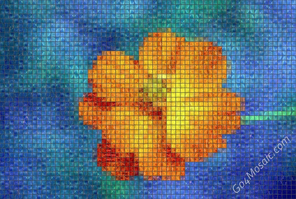 Orange Flower mosaic from Marble