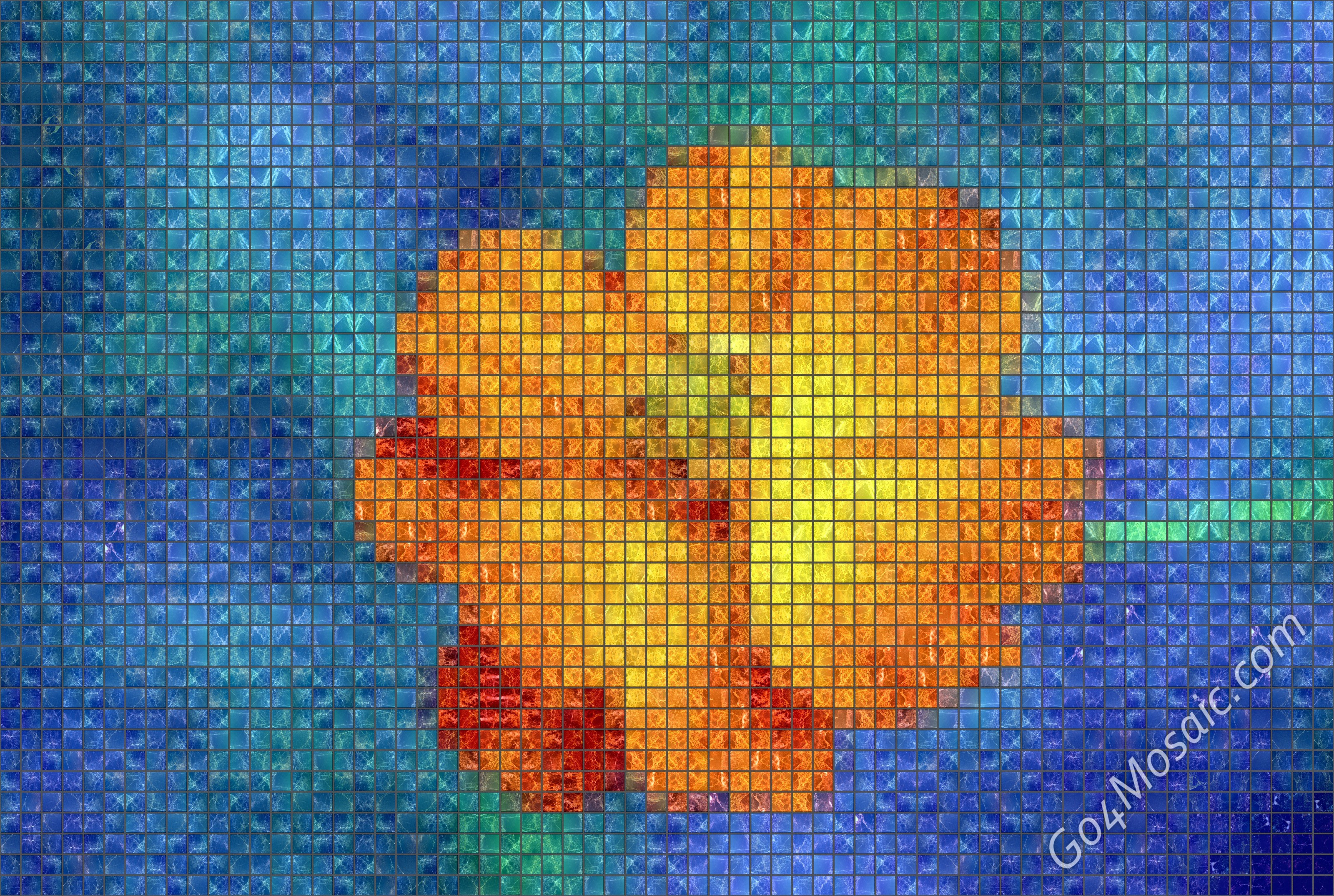Orange Flower mosaic from Marble
