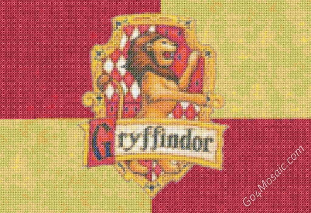 Cross-stitched Gryffindor Flag