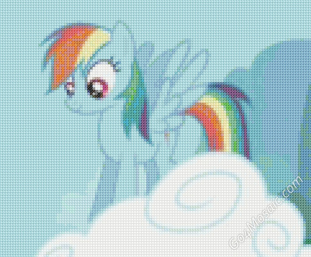 Cross-stitched Rainbow Dash mosaic