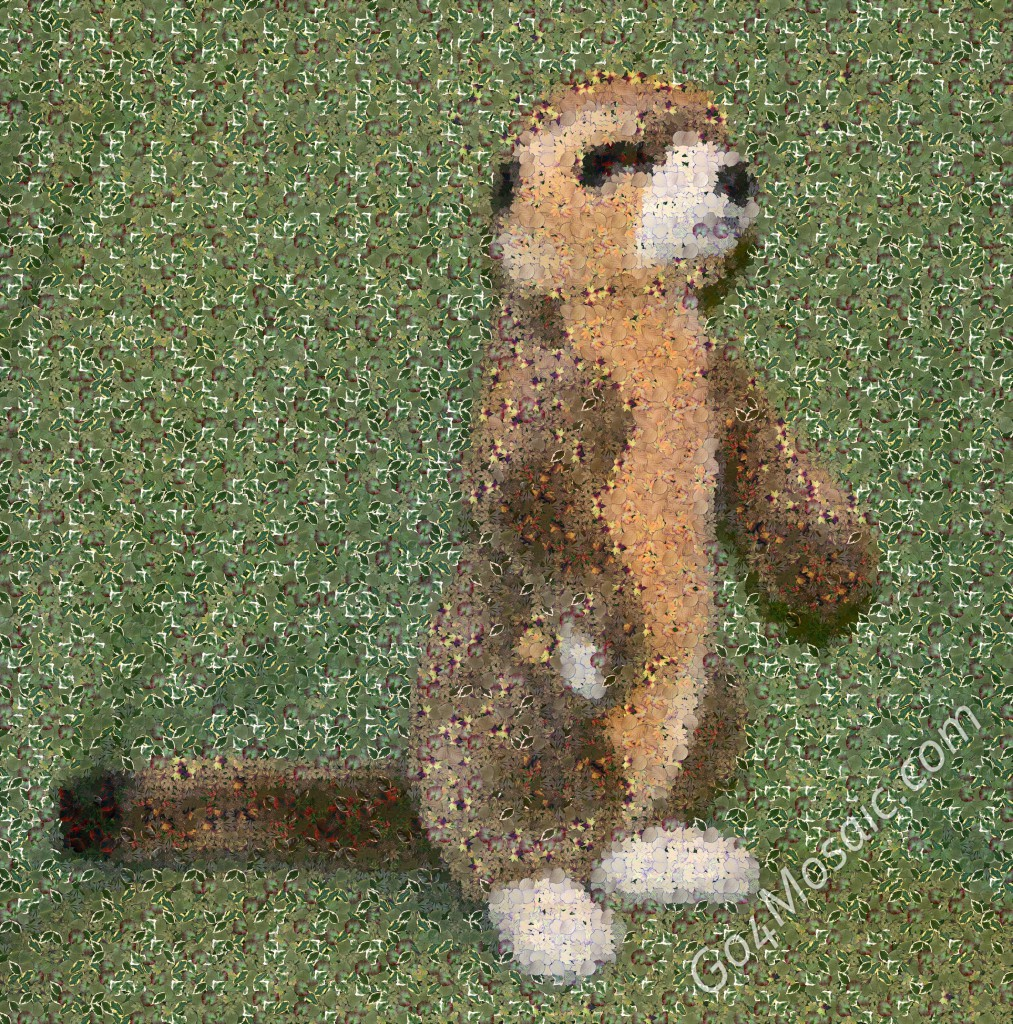 Plush Meerkat mosaic from Leaves