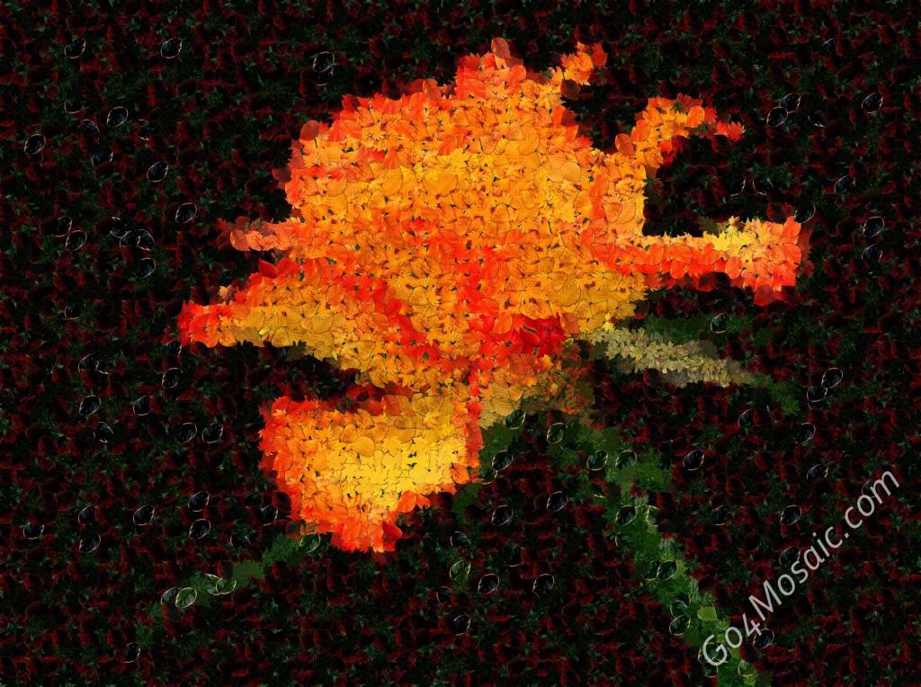 Orange Rose from Leaves