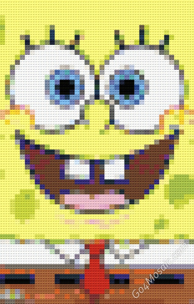 Spongebob Squarepants mosaic from Lego Bricks