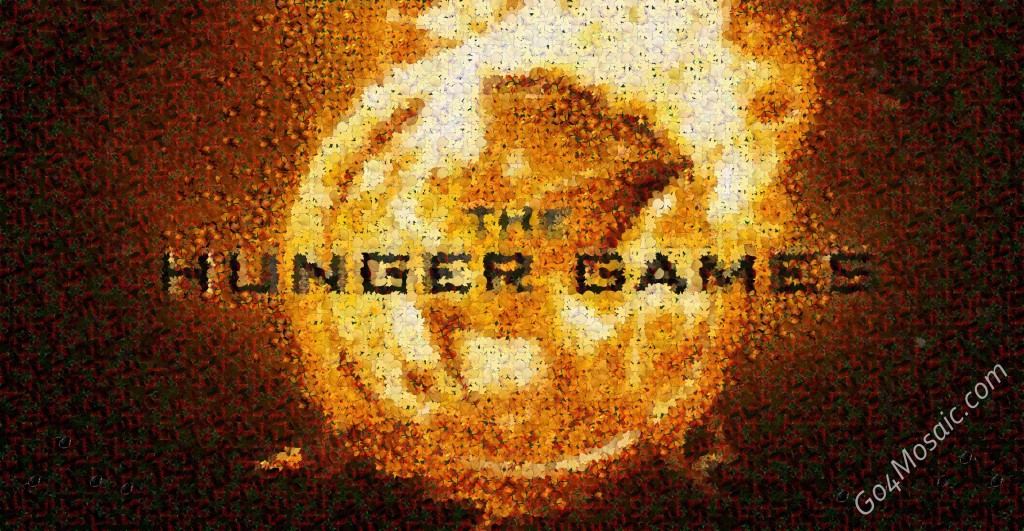 The Hunger Games Logo mosaic from Leaves