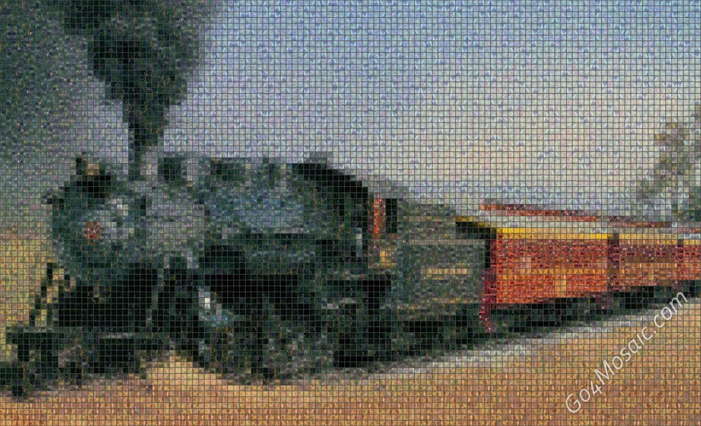 Steam Train mosaic from Marble