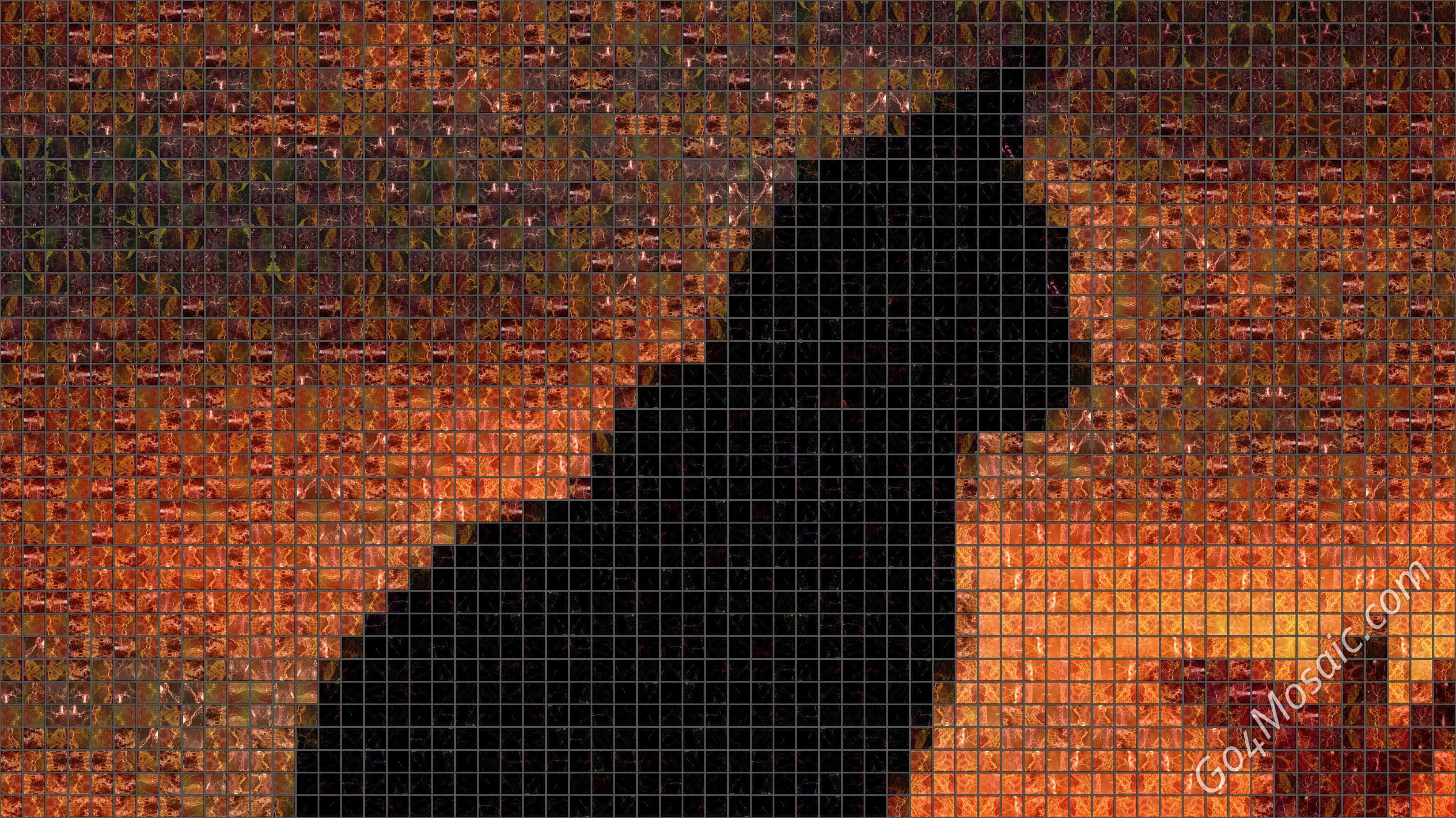 Cat Silhouette mosaic from Marble