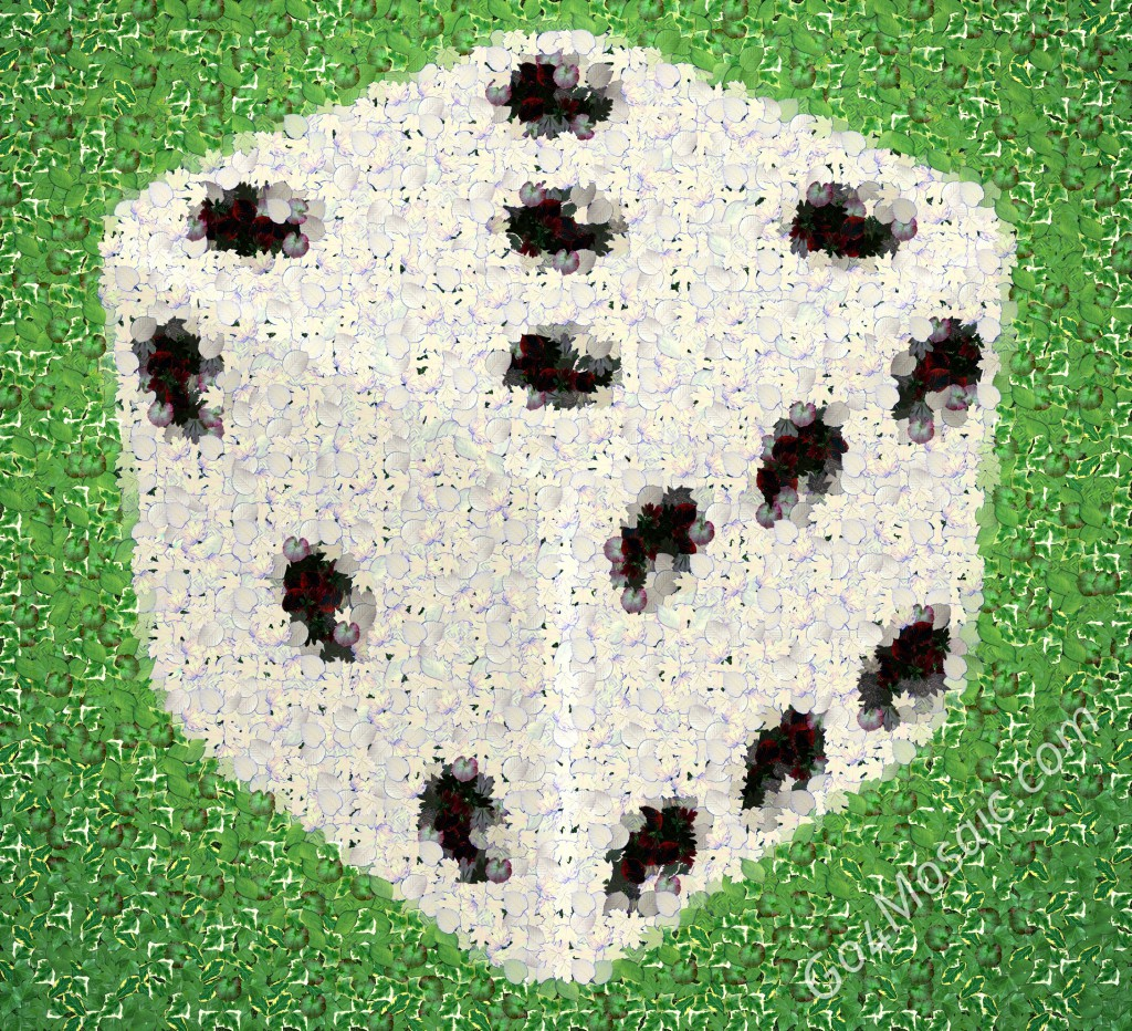 Dice mosaic from Leaves