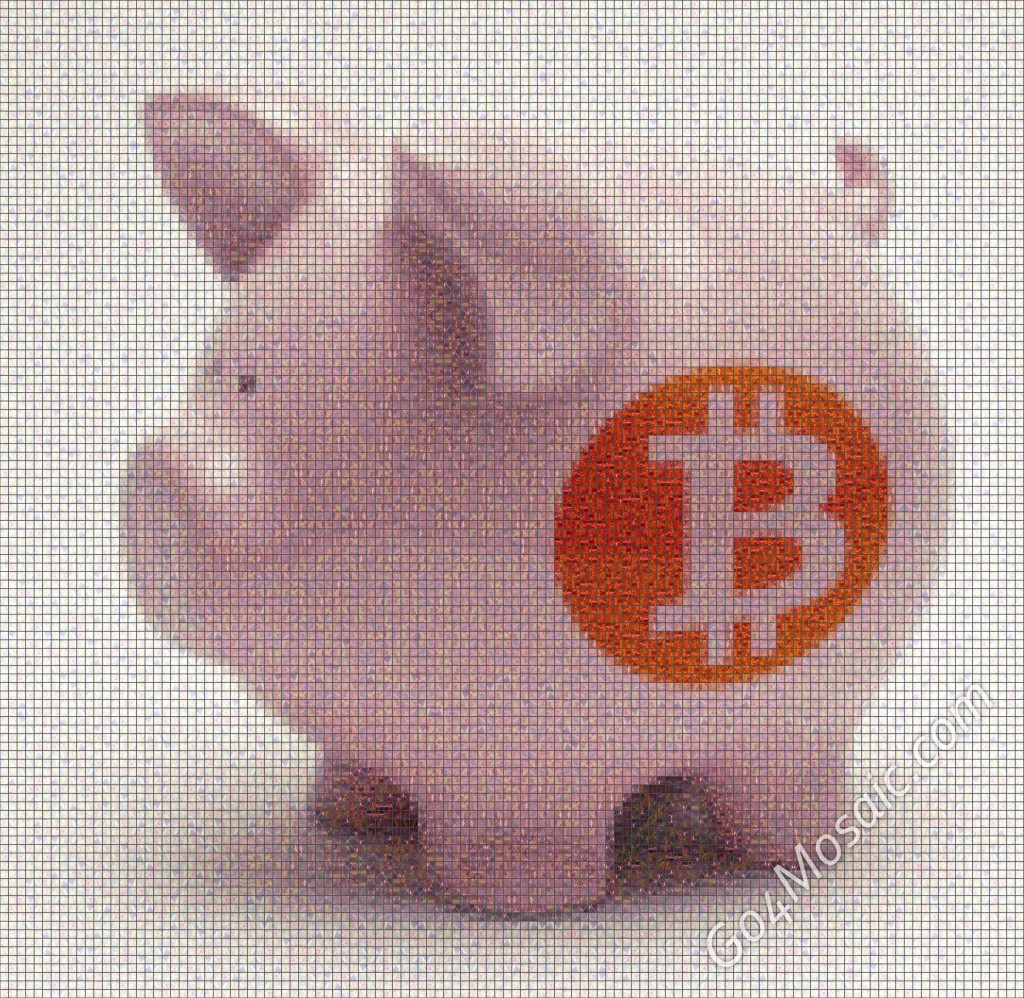 Piggy Bank with Bitcoin mosaic from Marble.