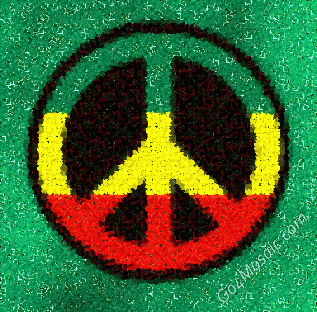 Rasta Peace mosaic from Leaves.
