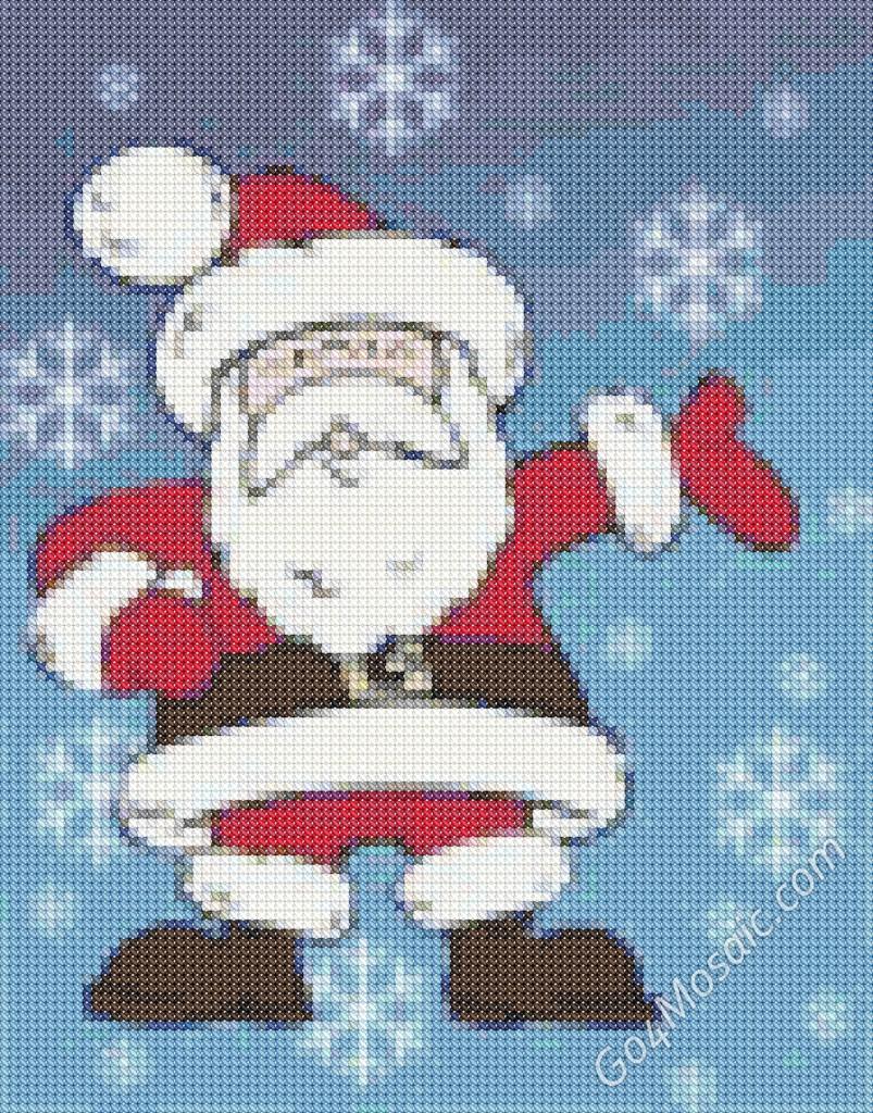 Cross-stitched Santa mosaic