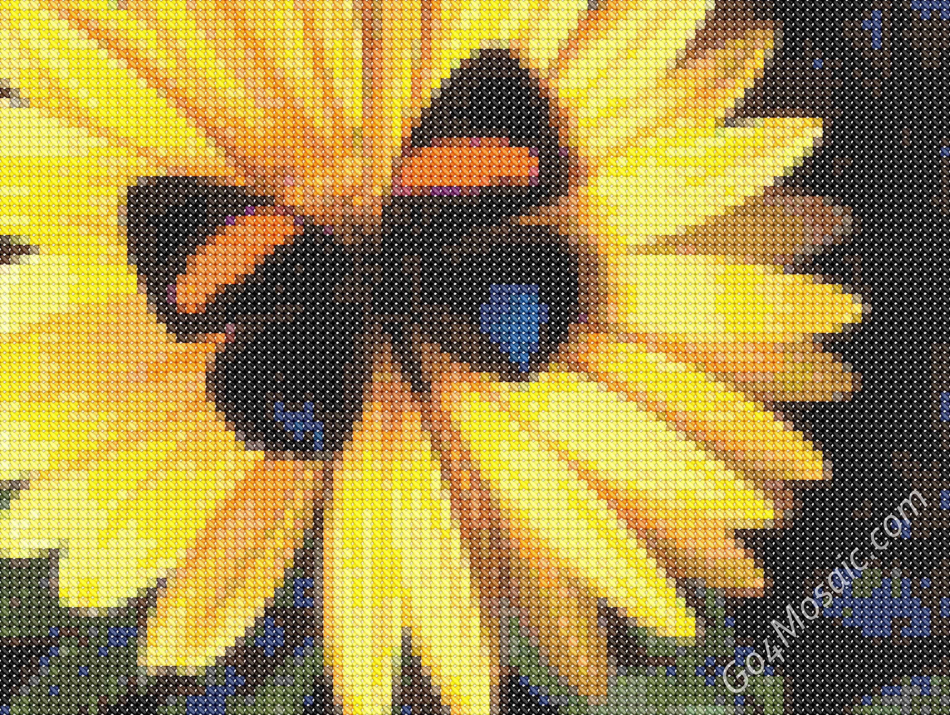 Butterfly mosaic from cross-stitched