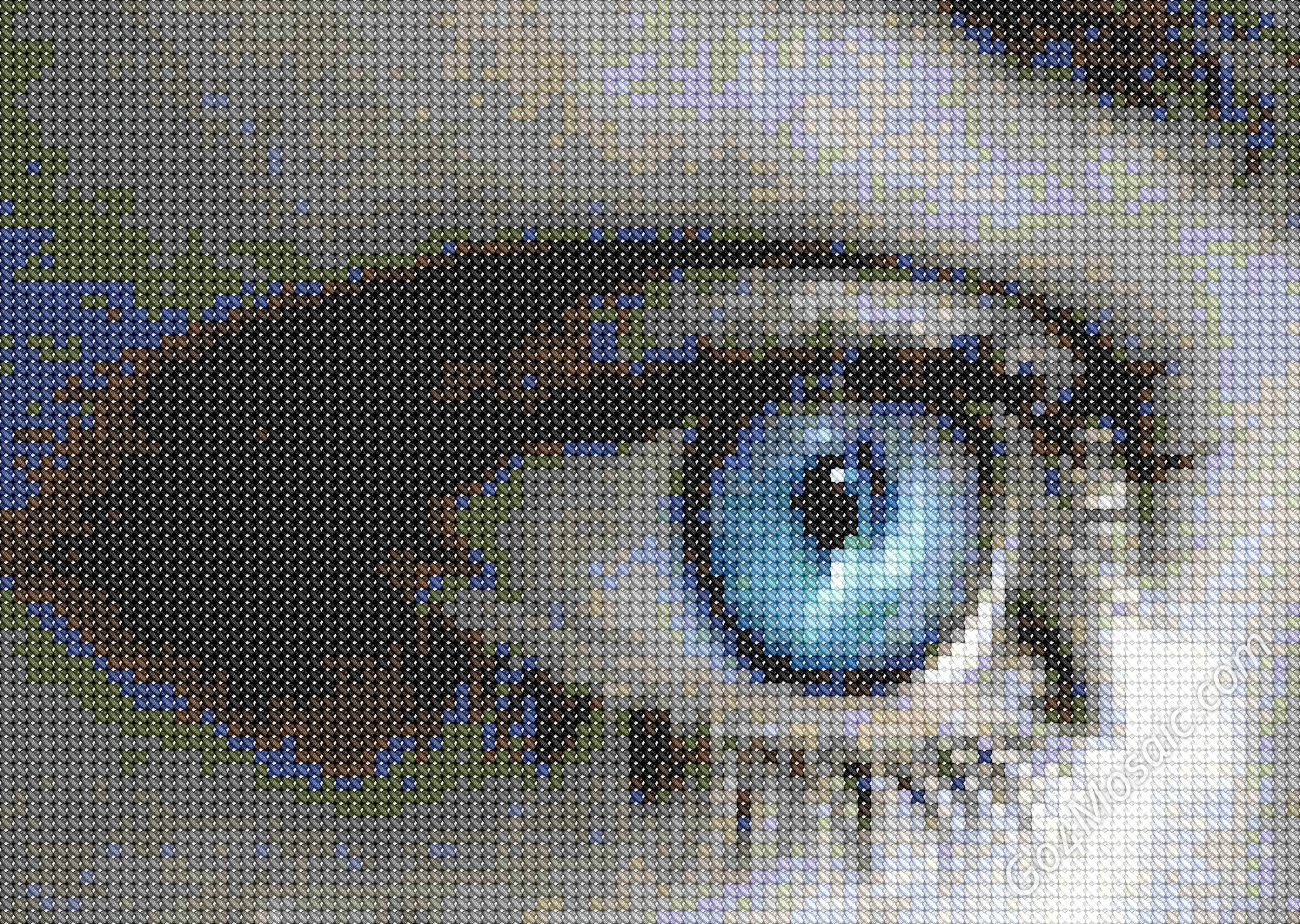 Eye mosaic from cross-stitched