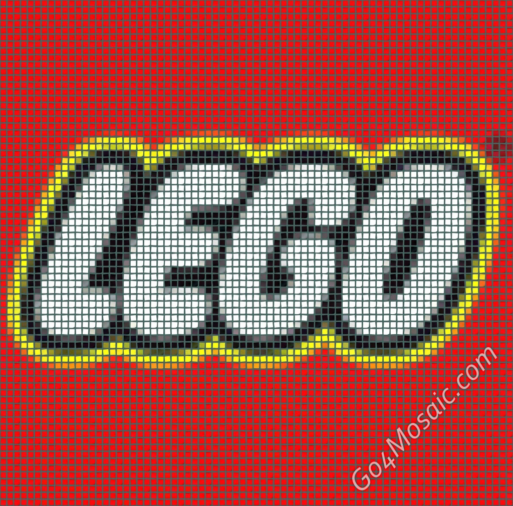 Lego logo mosaic from postits
