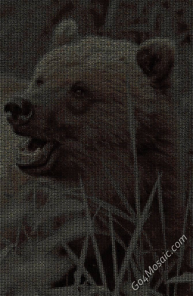 Bear mosaic from matrix letters