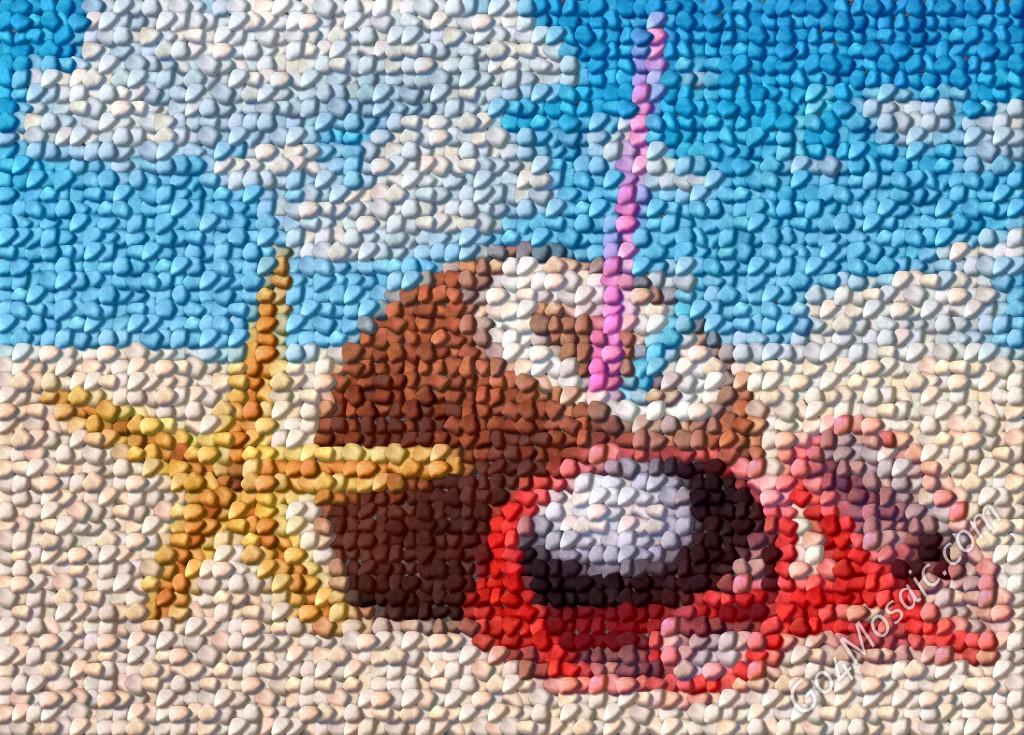 Summer vacation mosaic from pebbles