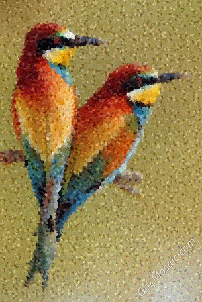 Colorful Birds mosaic from guitar picks