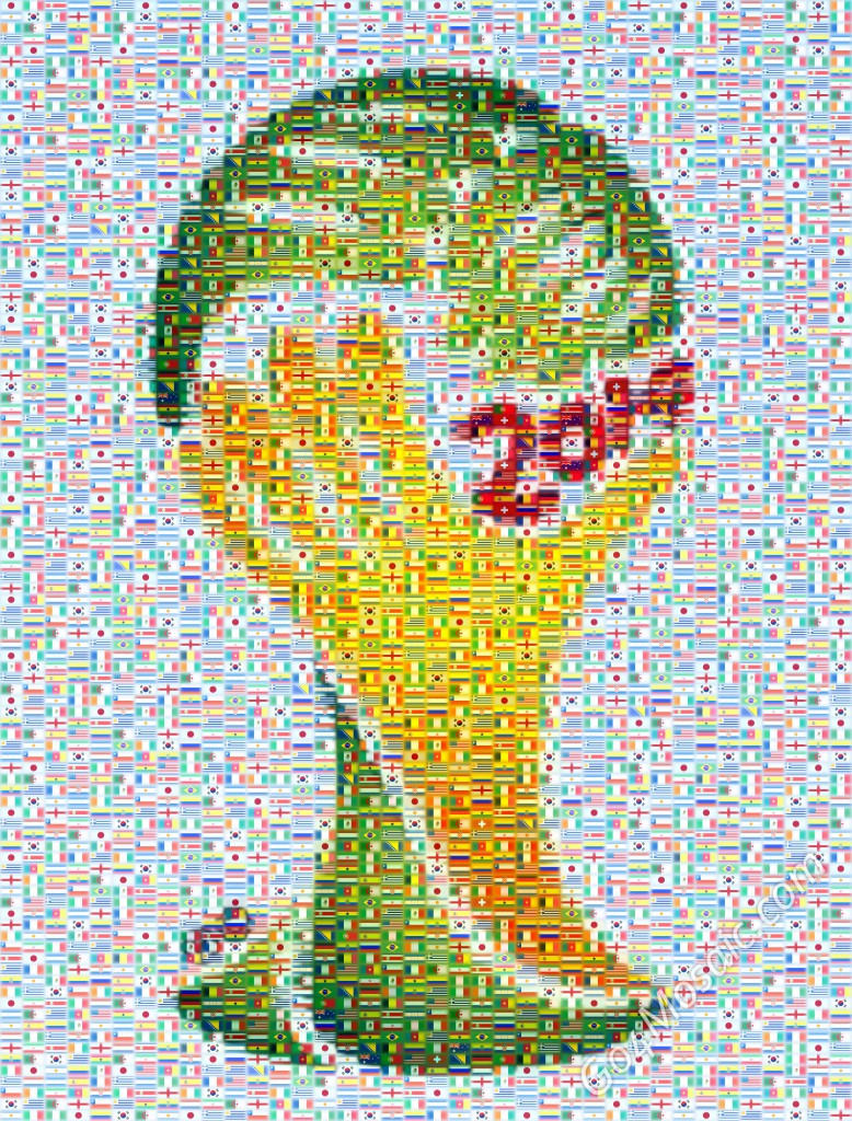Fifa World Cup 2014 Brazil mosaic from the flags of the participating countries