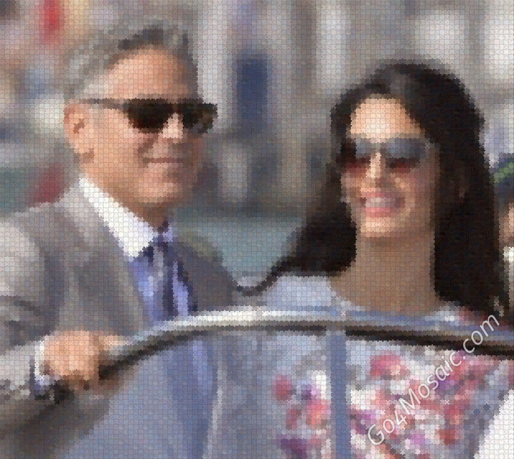 George Clooney and Amal Alamuddin mosaic from Wooden Jigsaw